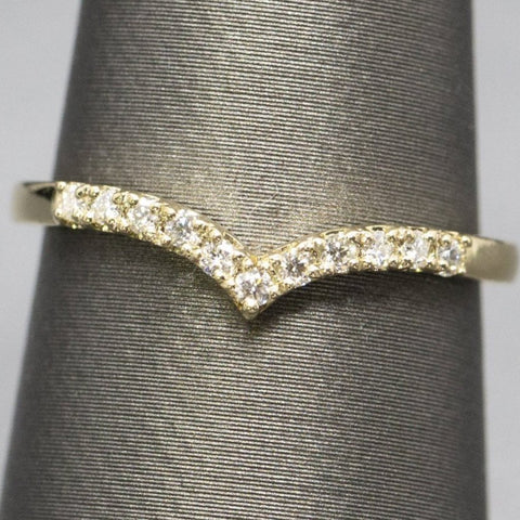 Chevron Diamond Ring | V Shape Stacker Ring |Contour Band Size 6.5