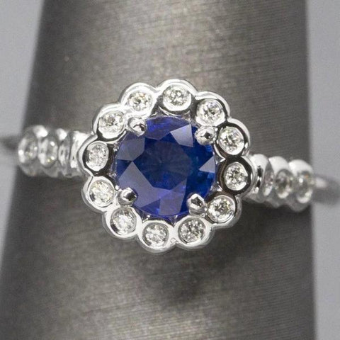 Handcrafted 1.09ctw Natural Ceylon Blue Sapphire and Bezel Set Diamond Ring 14k, Classic Sapphire and Diamond Ring, September Birthstone