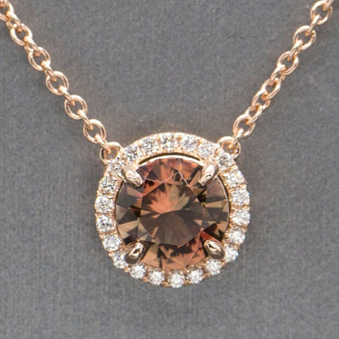 STUNNING Oregon Sunstone and Diamond Halo Necklace Rose Gold 14k, Handcrafted 1.94ctw Blue Green Sunstone, Natural Sunstone, Gift for Her