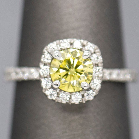 1.25ctw Yellow Diamond Halo Platinum Engagement Ring, Yellow Diamond Engagement Ring, Yellow Diamond Halo, Yellow Diamond Platinum Ring