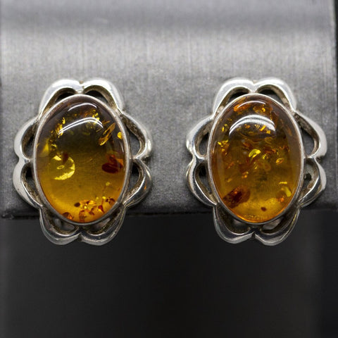 Vintage Amber Clip On Earrings Sterling Silver, Natural Amber, Boho Earrings, Handcrafted Sterling Silver, Non Pierced Earrings, Scalloped