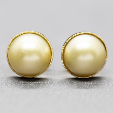 Handcrafted 12mm Golden South Sea Cultured Pearl Stud Earrings 14k Yellow Gold, South Sea Button Earrings, Yellow Pearl, Classic Jewelry