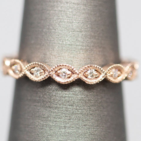 Diamond Eternity Stackable Band Ring 14k Rose Gold, Minimalist Wedding Band Ring, Feminine Wedding Ring Stackable Diamond Ring, Gift for Her