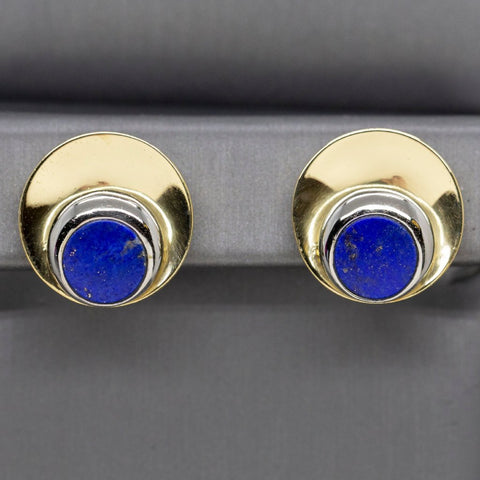 Italian Blue Lapis White and Yellow 18k Gold Earrings