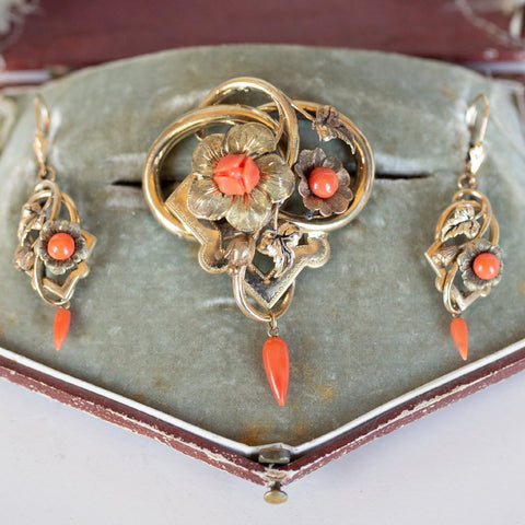 Antique Victorian Gold and Coral Parure, Victorian Pin Brooch Pendant and Earrings Set, Carved Coral Earrings, Boxed Victorian Jewelry Set