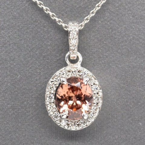 Handcrafted Natural Peach Zircon and Diamond Halo Pendant Necklace 14k, Bellini Zircon, Gemstone Necklace, December Birthstone, Gift for Her