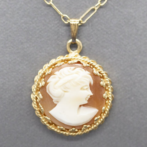 Victorian Cameo Crown Pendant Choker Necklace 14k 14.5""