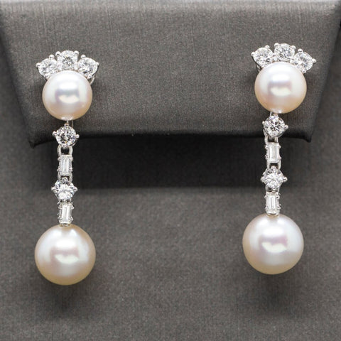 EXQUISITE Akoya Pearl & Diamond Dangle Earrings 18k, Wedding Earrings, Fine Pearl Diamond Earrings, Vintage Bridal Earring, Mother of Bride