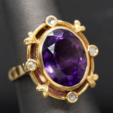Amethyst and Diamond Slice Ring in 14k Yellow Gold Size 6