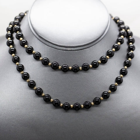 Onyx and 14k Gold Bead Infinity Necklace