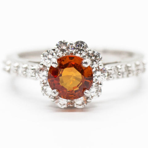 Natural Orange Sapphire and Diamond 14k Halo Ring, Orange Sapphire Flower Ring, Diamond Flower, Alternate Engagement Ring, Orange Gemstone