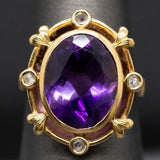 Victorian Amethyst and Diamond Slice Ring in 14k Yellow Gold, Renaissance Revival Ring, Antique Amethyst Cocktail Ring, February Birthstone