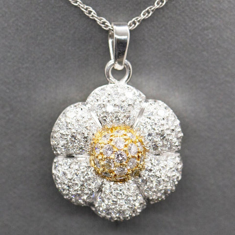 Pave Diamond Flower 3.00ctw Pendant Necklace in 18k Yellow Gold and Platinum