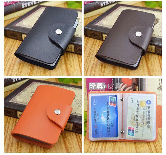 Unisex Plain Leather Credit Card Holder Wallet 20 Slots - Wander Gala