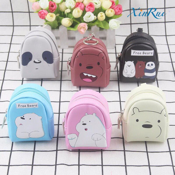 We Bare Bears Coin Purse Backpack Zipper Wallet Keychain - Wander Gala