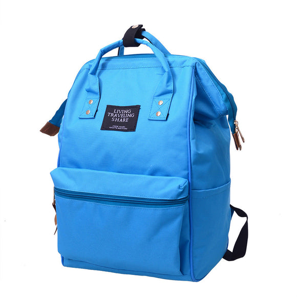 Unisex Solid Backpack School Travel Bag Double Shoulder Bag Zipper Bag - Wander Gala