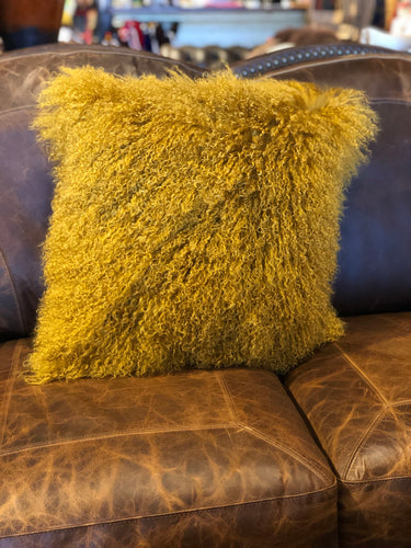 Mustard Tibetan Lamb Pillow