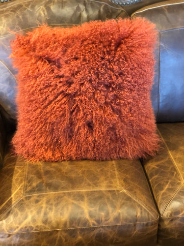 Rust Tibetan Lamb Pillow