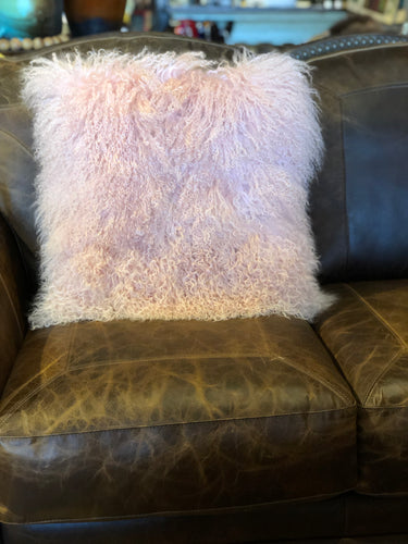 Pink Tibetan Lamb Pillow