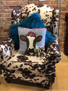 Cow Pillow - White Brown