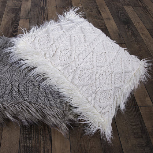 Cable-Knit Sweater and Faux Fur Pillow