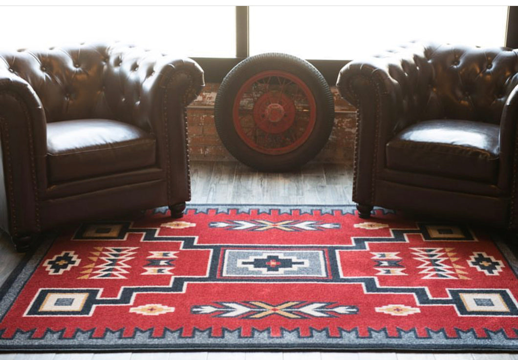 Old Crow Area Rug - Red