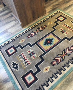 Old Crow Area Rug - Suede Turquoise