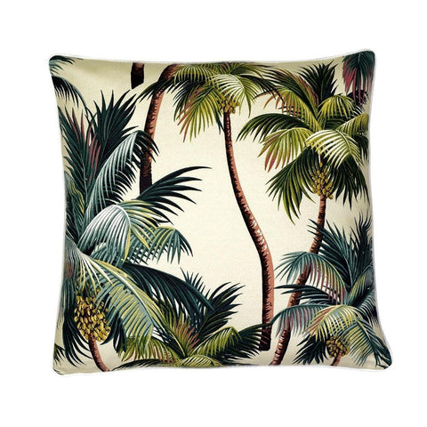 Cushion Reversible Palm Trees Natural / Black