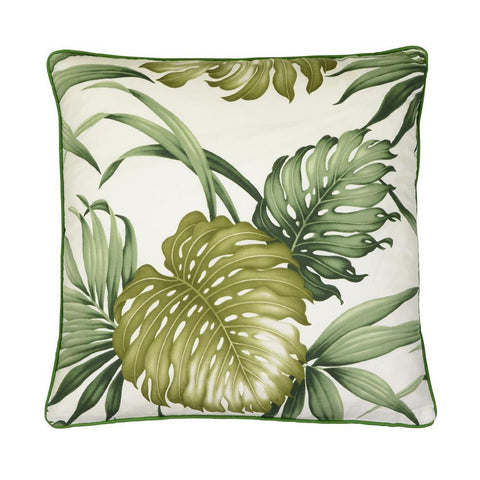 Cushion Jesika tropical print, plain reverse