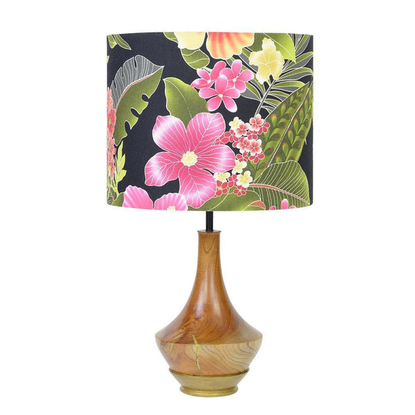 Lampshade Moana Black Hibiscus Tropical Fabric
