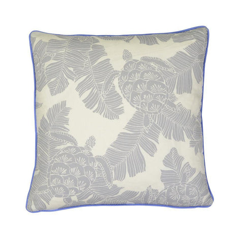 Cushion Turtle Silver Grey with blue piping