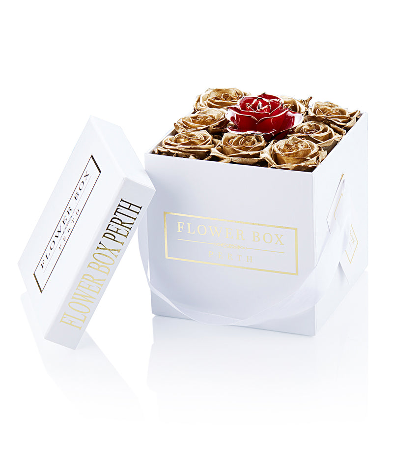 Everlasting Gold Square Flower Box