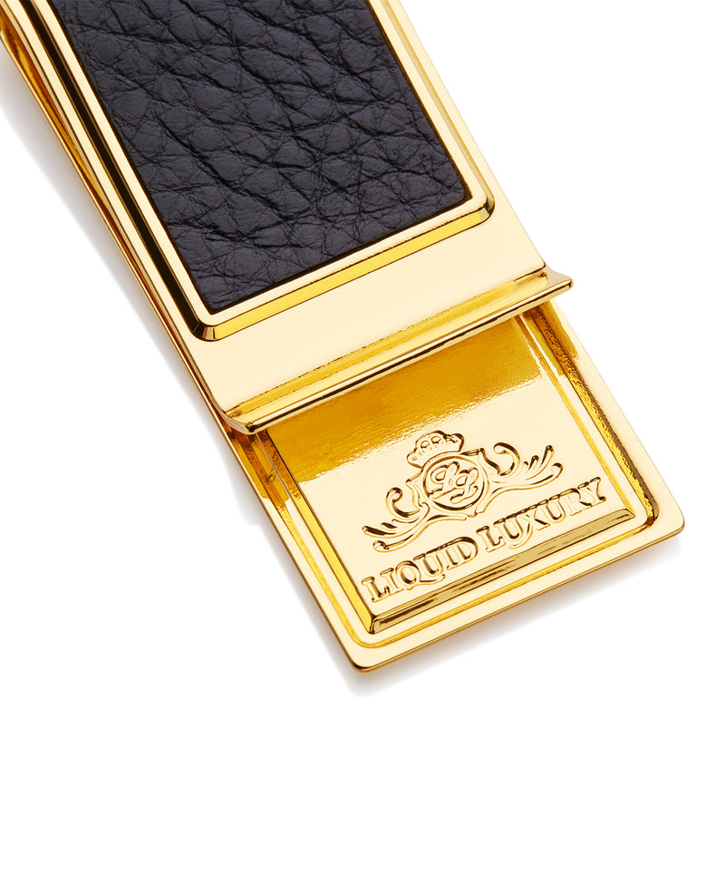 Gold Plated Leather Money Clip