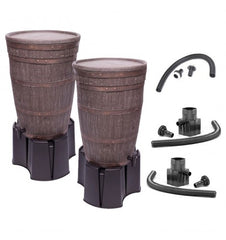 GutterMate Oak Wood Effect Water Butt 120L Twin Pack