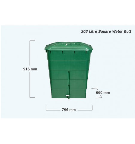 GutterMate Square Water Butt 203L with stand - Green