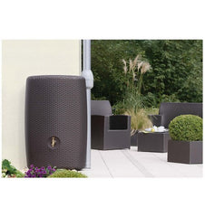 GutterMate Sunda Rattan Wall Tank 300L - Grey Wicker Effect