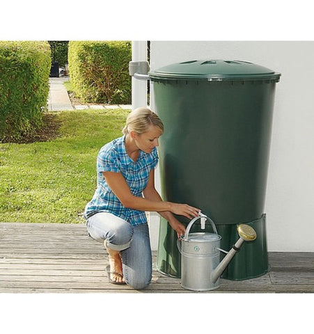 GutterMate Round Water Butt 310L with Stand - Green