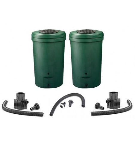 GutterMate Magnum Rain Barrel Waterbutt 350L - Green - Twin Pack