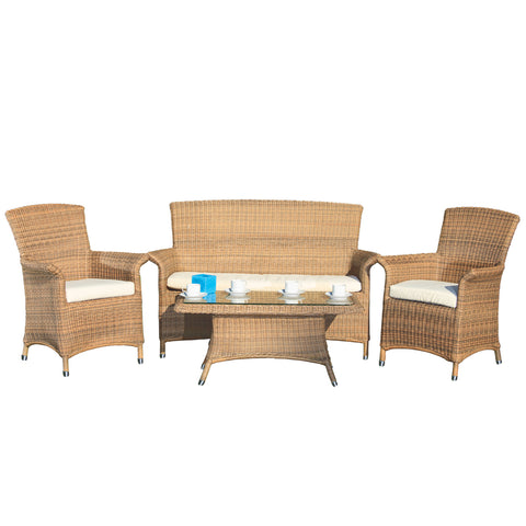 Cozy Bay® Panama Rattan 4 Seater Lounge Set with Alternate Table in 4 Seasons with Creamy White Cushions