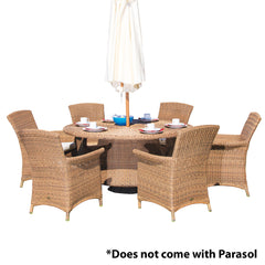 Cozy Bay® Panama Rattan 6 Seater Dining Set in 4 Seasons with Creamy White Cushions
