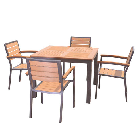 Sol Bistro® Syn-Teak™ 4 Seater Dining Set with Large Square Table in Teak Asian
