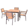 Image of Sol Bistro® Syn-Teak™ 4 Seater Dining Set with Large Square Table in Teak Asian