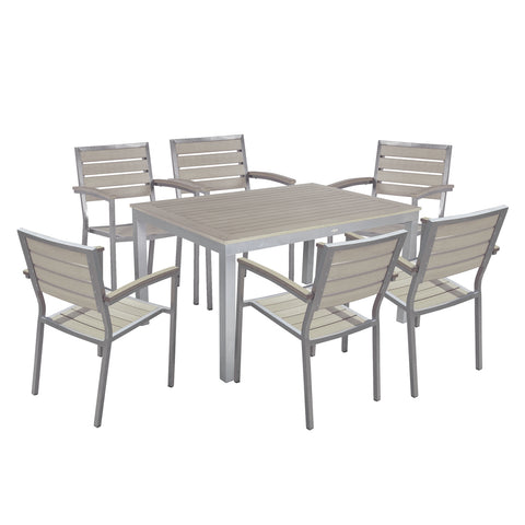 Sol Bistro® Syn-Teak™ 6 Seater Dining Set with Rectangle Table in Dark Walnut
