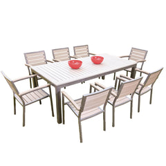 Sol Bistro® Syn-Teak™ 8 Seater Rectangle Dining Set in Dark Walnut