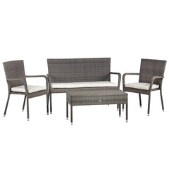 Oseasons® Winchester Rattan 4 Seater Lounge Set in Walnut Natural