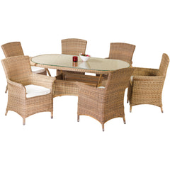 Cozy Bay® Panama Rattan 6 Seater Oval Table Dining Set in 4 Seasons