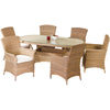 Image of Cozy Bay® Panama Rattan 6 Seater Oval Table Dining Set in 4 Seasons