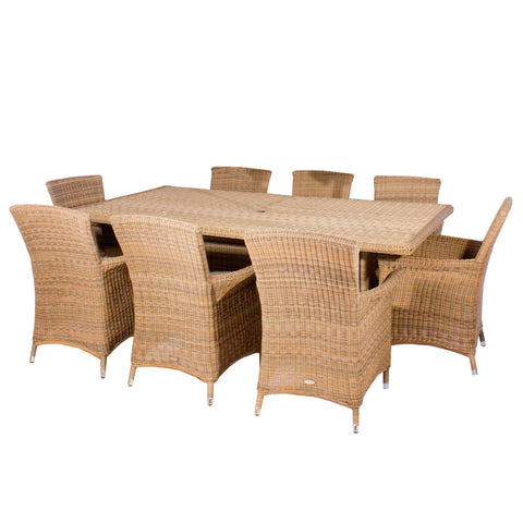 Cozy Bay® Panama Rattan 8 Seater Rectangle Table Dining Set in 4 Seasons with Creamy White Cushions