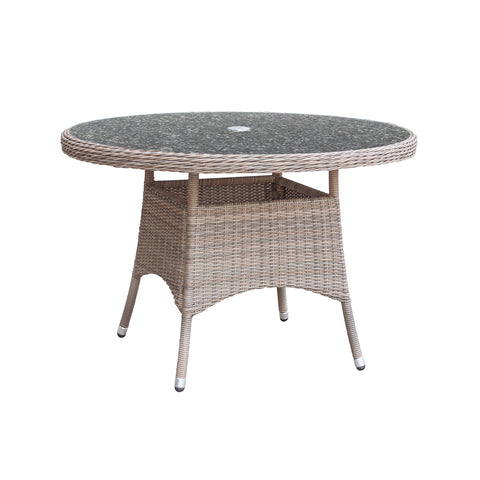 Oseasons® Eden Rattan 4 Seater Dining Set in Chic Walnut with Granite Effect Glass