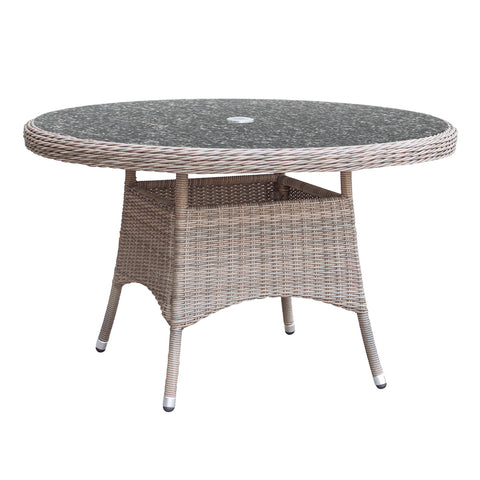 Oseasons® Eden Rattan 6 Seater Dining Set in Chic Walnut with Granite Effect Glass
